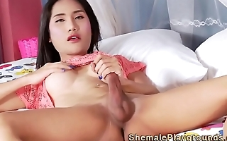 Cock jerking asian shemale