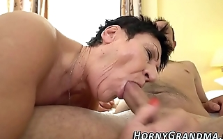 Old grandma mouth jizzed