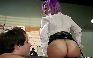 Tranny secretary fucks deep throat guy