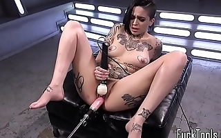 Machine babe pussy stretched till orgasm