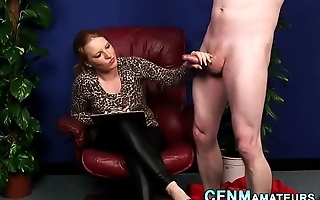 Cfnm ginger sucks and tugs