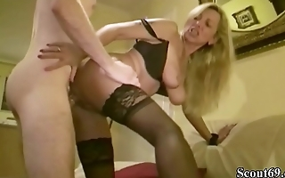 German MILF Teach Big Dick Virgin Son of Friend how to Fuck