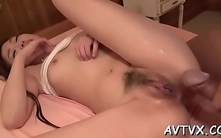 Oriental babe gets her hairy twat drilled ferociously