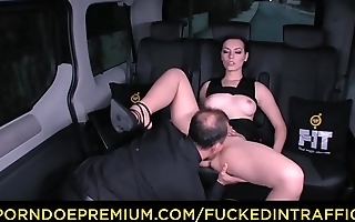 FUCKED IN TRAFFIC - Gorgeous babe slammed in the van