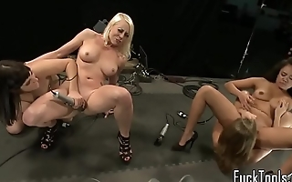 Submissive lesbos drilled by sex machine