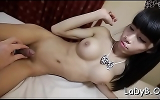 Slutty tranny bitch jerks off her dick and desires for anal sex