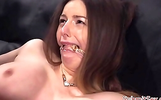 Busty BDSM sub gets anally toyed by dom