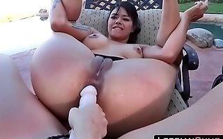 Mom and Daughter Strapon Fucking Outdoors ➨ LesbianCUMS.com