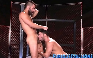 Ripped gay hunk spunked