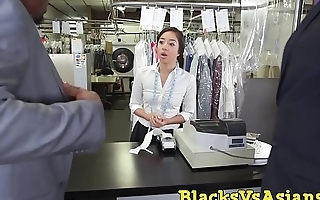 Tiny Japanese beauty ass hammered in BBC threesome