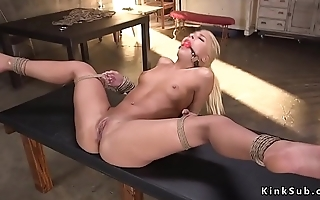 Clamped pussy blonde gets deep throat