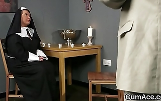 Peculiar honey gets cum load on her face eating all the ejaculate