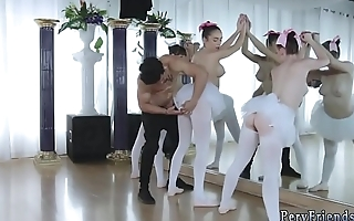 Group of guys masturbating and blond teen party Ballerinas