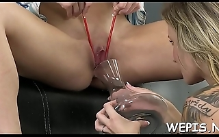 Perverted hotty and her boyfriend make pissing in a process