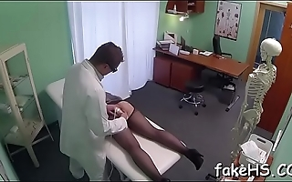 Seductive and alluring doctor strips to get drilled