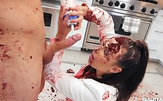 Dirty food play and blowjob with sexy brunette gal