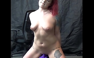 Petite redhead stripper Jade rides the sybian