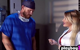 Busty MILF nurse help to his coworker with a nervousness