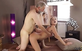 OLD4K. Middle-aged teacher and student have good time at his home