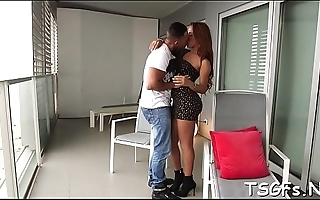 Voluptuous ladyboy vixen provides anal for hardcore gangbang